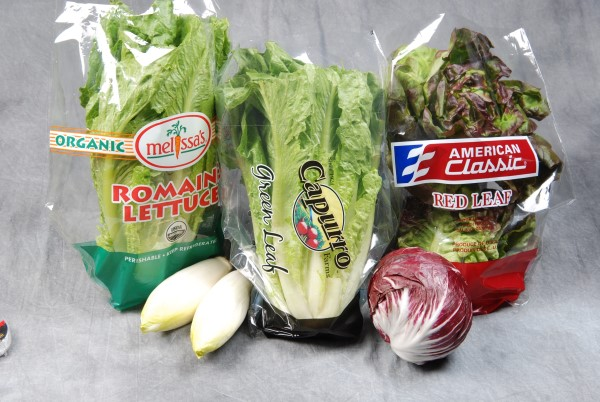 Custom plastic food grade material packaging bags for fresh vegetables and fruits.