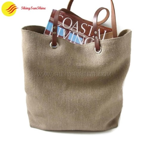 Custom Portable Jute Tote Handbag With Leather Handles