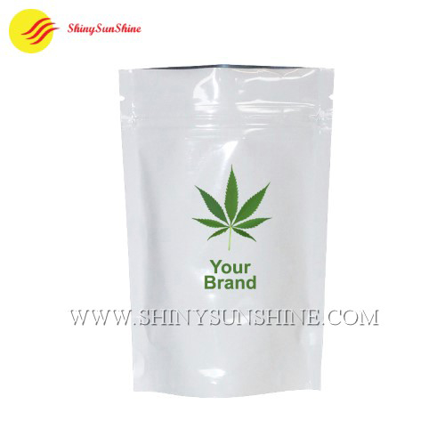 Custom printable cannabis Mylar stand up pouch with zipper
