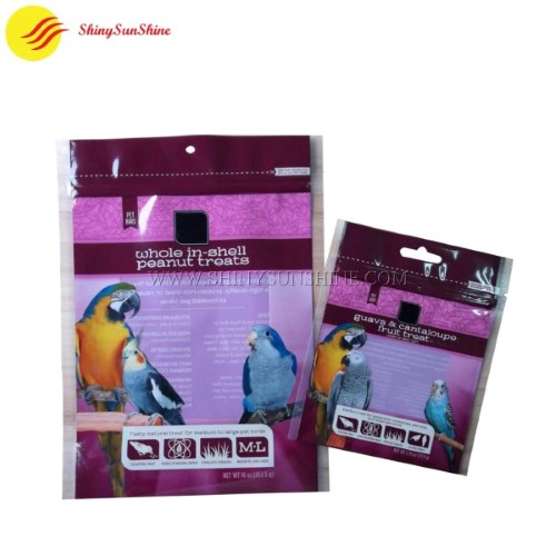 Custom printable plastic animal bird food zipper stand up pouch packaging bags.
