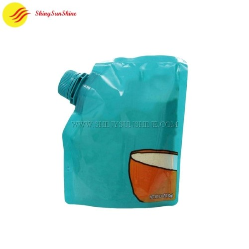 Custom standing spouted nozzle juice pouches, food grade material packaging bags.