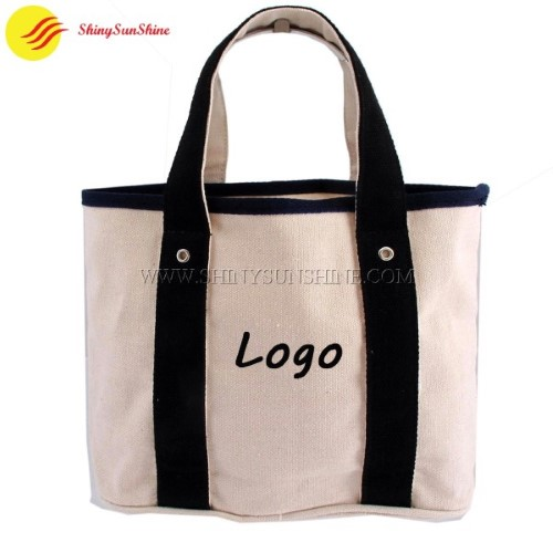 Custom wholesale women canvas cotton tote shopping hand bags with handles.