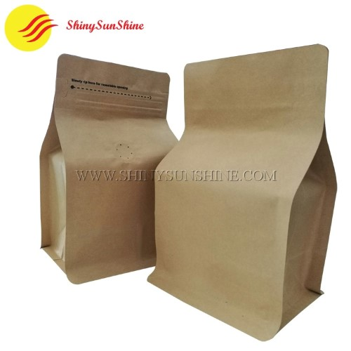 Custom printable square bottom Kraft paper foil packaging bags with zip lock and valve.