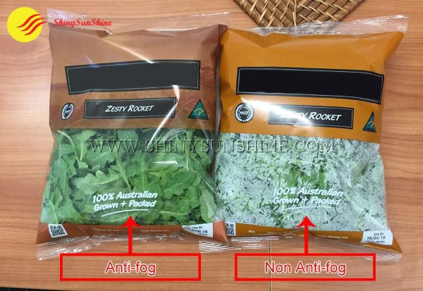Custom plastic food grade packaging anti-fog bags for fresh vegetables and fruits.