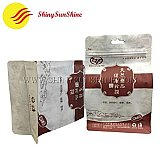 Side gusset Mylar stand up Kraft paper laminated flat bottom zip lock bags, food grade material.