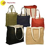 Custom Eco-friendly large jute tote shopping bags with handles.