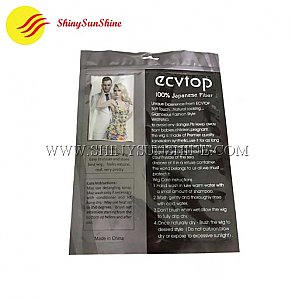 Custom 3 side sealed zip lock packaging printable bags for clothes