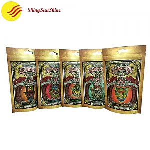Custom resealable tobacco stand up zipper Kraft paper laminated bags.