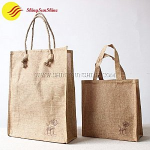 Custom branded portable shopping jute tote bags