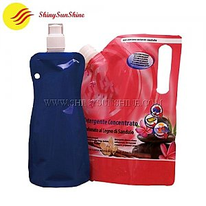 Custom stand up pouch with a spout nozzle for detergent packaging bags