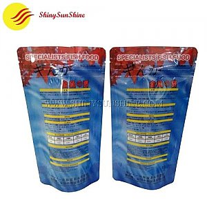 Custom printable plastic fish food zip lock stand-up pouch packaging bags.