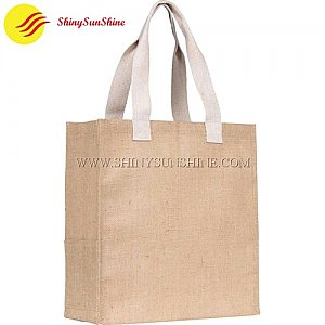 Custom burlap jute tote shopping bags with handles.