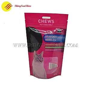 Custom printable plastic pet food zip lock self standing pouch packaging bags.
