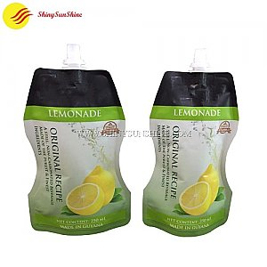 Custom special shape standing spouted nozzle juice pouches fruit drink packaging bags.