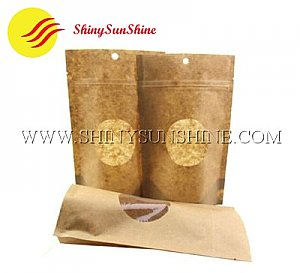 Custom stand up zipper Kraft paper brown bag