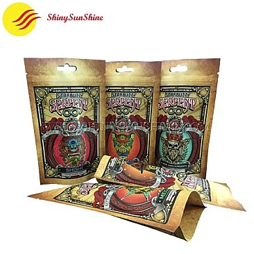 Custom marijuana cannabis Kraft paper laminated foil packaging pouch bags with zip lock