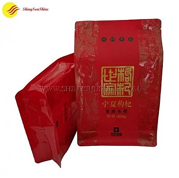 Custom plastic UV printed flat bottom packaging bag for dried food.