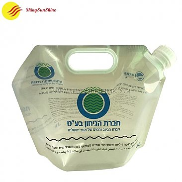Custom standing printed liquid nozzle spout packaging bags with food grade material.